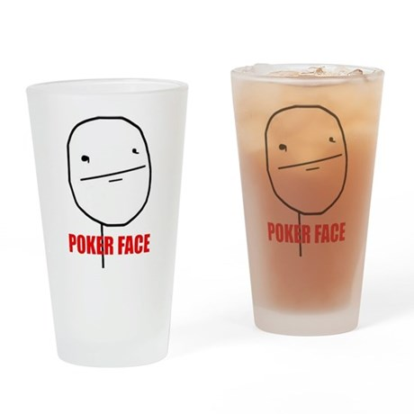Poker Face Drinking Glass