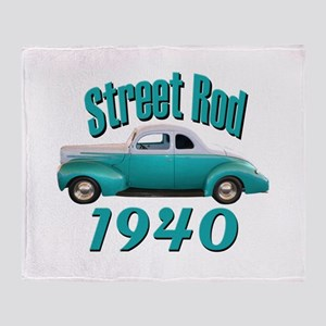 1940 Ford Hot Rod Jade Throw Blanket