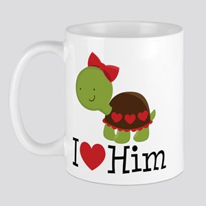 I Heart Him Couples Turtle Mug