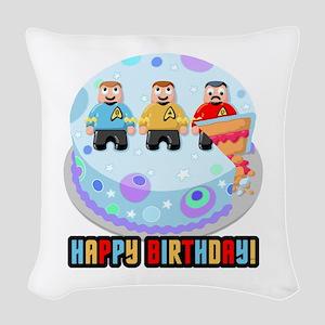 Star Trek Birthday Cake Woven Throw Pillow