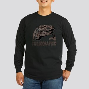 Philosoraptor Labeled Long Sleeve Dark T-Shirt