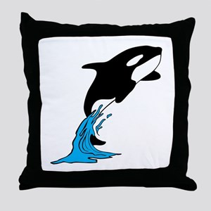 Killer Whale Jump Throw Pillow