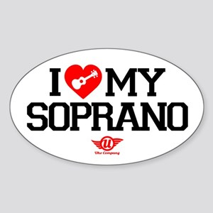 I Love My Soprano Ukulele Sticker (Oval)