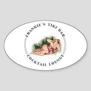Frankie's Tiki Bar Hula Girl 2 Sticker (Oval)