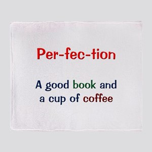 Perfection Book and Coffee Throw Blanket