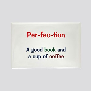 Perfection Book and Coffee Rectangle Magnet