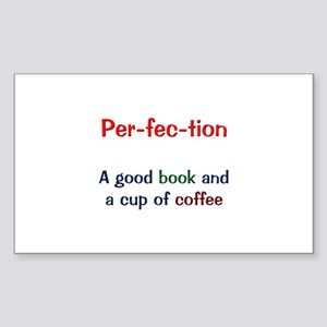 Perfection Book and Coffee Sticker (Rectangle)