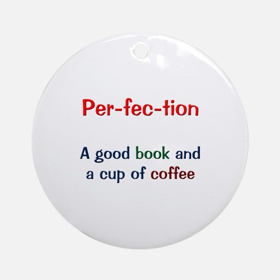 Perfection Book and Coffee Ornament (Round)