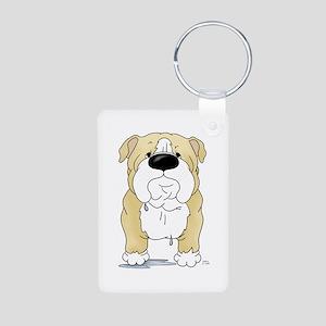 Big Nose Bulldog Aluminum Photo Keychain