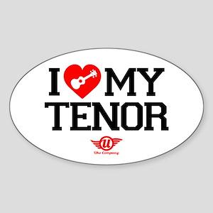 I Lover My Tenor Ukulele Sticker (Oval)