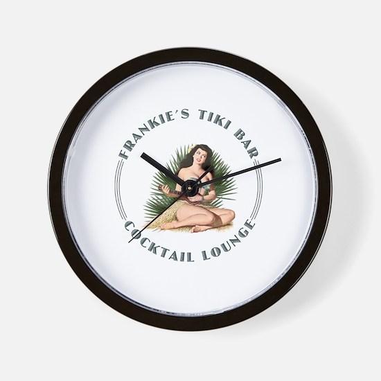 Frankie's Tiki Bar Hula Girl 3 Wall Clock