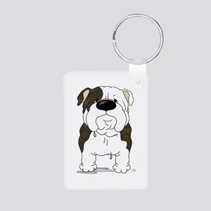 Big Nose Bulldog Aluminum Photo Keychain