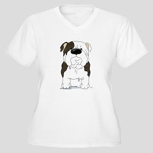 Big Nose Bulldog Women's Plus Size V-Neck T-Shirt