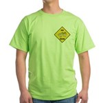 Chick Crossing Sign Green T-Shirt