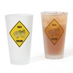 Chick Crossing Sign Drinking Glass