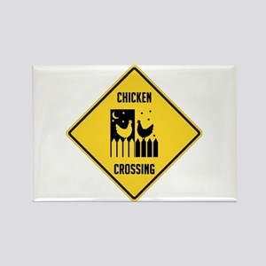 Chicken Crossing Sign Rectangle Magnet