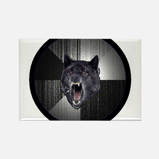 Insanity Wolf Circle Rectangle Magnet (10 pack)