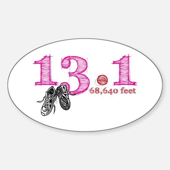 13.1 Half Marathon Pink Sticker (Oval)