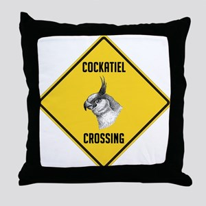 Cockatiel Crossing Sign Throw Pillow