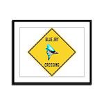 Blue Jay Crossing Sign Framed Panel Print
