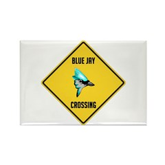 Blue Jay Crossing Sign Rectangle Magnet