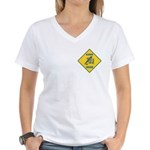 Blue Jay Crossing Sign Women's V-Neck T-Shirt