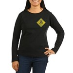 Blue Jay Crossing Sign Women's Long Sleeve Dark T-