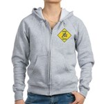 Blue Jay Crossing Sign Women's Zip Hoodie