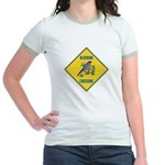 Blue Jay Crossing Sign Jr. Ringer T-Shirt
