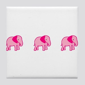 Three Pink Elephants Tile Coaster