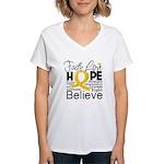 Faith Hope Neuroblastoma Women's V-Neck T-Shirt