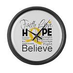 Faith Hope Neuroblastoma Large Wall Clock