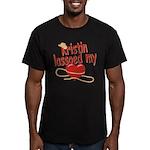 Kristin Lassoed My Heart Men's Fitted T-Shirt (dar