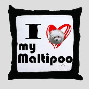 I Love my Maltipoo Throw Pillow