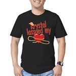 Krystal Lassoed My Heart Men's Fitted T-Shirt (dar