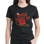 Krystal Lassoed My Heart Women's Dark T-Shirt