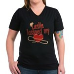 Leslie Lassoed My Heart Women's V-Neck Dark T-Shir