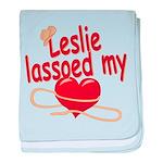 Leslie Lassoed My Heart baby blanket