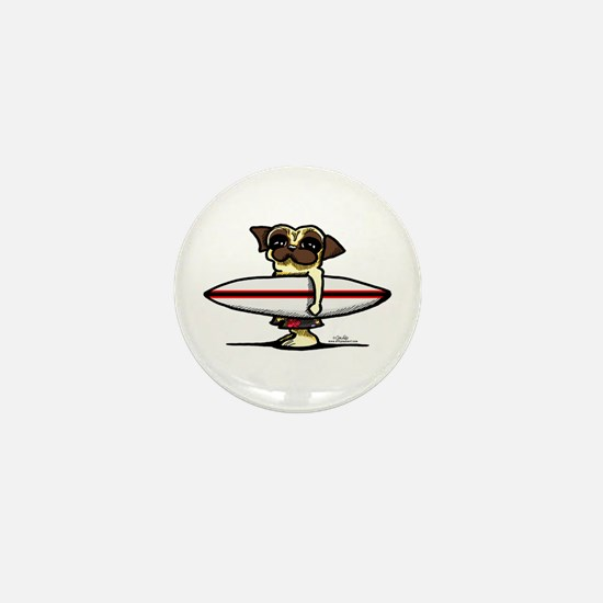 Surfer Pug Mini Button