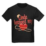Linda Lassoed My Heart Kids Dark T-Shirt