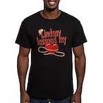 Lindsay Lassoed My Heart Men's Fitted T-Shirt (dar