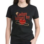 Lindsay Lassoed My Heart Women's Dark T-Shirt