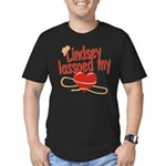 Lindsey Lassoed My Heart Men's Fitted T-Shirt (dar