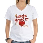 Lorraine Lassoed My Heart Women's V-Neck T-Shirt