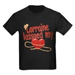 Lorraine Lassoed My Heart Kids Dark T-Shirt
