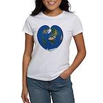 World Map Heart: Women's V-Neck T-Shirt Front