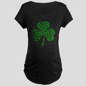 Irish Shamrocks Maternity Dark T-Shirt