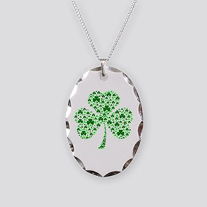 Irish Shamrocks Necklace Oval Charm