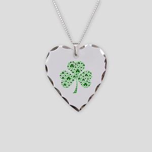 Irish Shamrocks Necklace Heart Charm