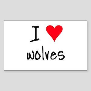 I LOVE Wolves Sticker (Rectangle)